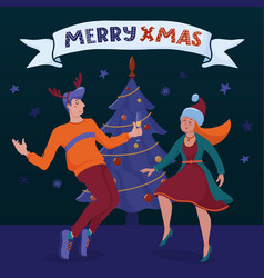 merry christmas banner with man and woman dancing vector image