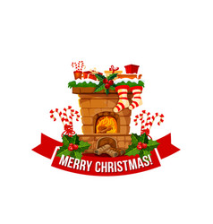 Merry christmas fireplace chimney icon vector