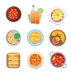 Mexican traditional food top view plates isolated vector
