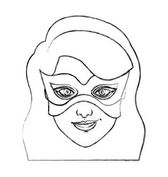 Monochrome blurred contour of girl superhero with vector