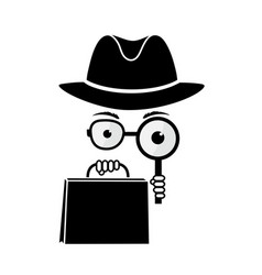 Mystery shopper in a hat with a magnifying glass vector