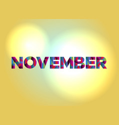 November concept colorful word art vector