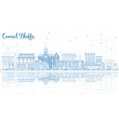 Outline council bluffs iowa city skyline with vector
