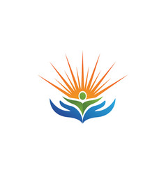 people care and sun nature therapy logo vector image