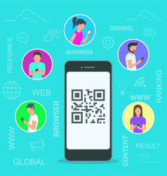 people using mobile vector image