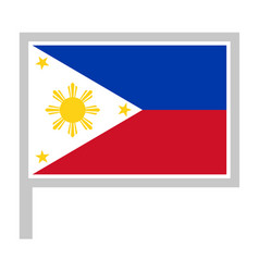 Philippines flag on flagpole icon vector