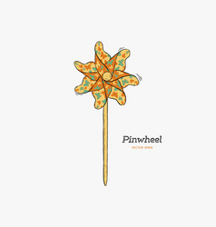 pinwheel paper windmill hand draw sketch vector image