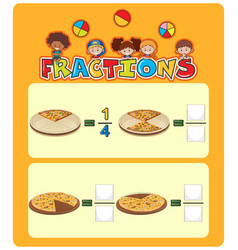 Pizza fractions math worksheet vector