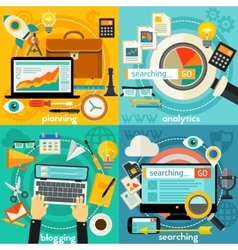 Planning Blogging Web Searching And Analytics vector image