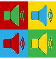 Pop art speaker volume icons vector
