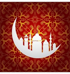 Ramadan holy month symbol with moon and mosque vector image