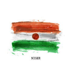 Realistic watercolor painting flag niger vector