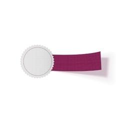 Sale Emblem Template on purple Ribbon vector image