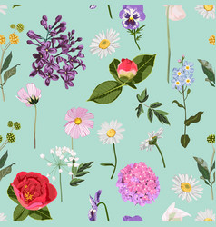 seamless pattern with red peony lilies lilac vector image