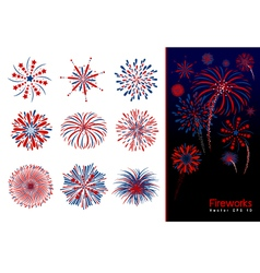 Set of fireworks design vector