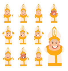 Set of flat cartoon pope icons vector