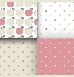 Set of seamless patterns with cartoon pink apples vector