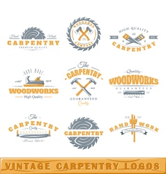 Set of vintage carpentry logos vector