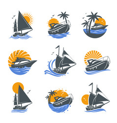 Set yacht icons vector