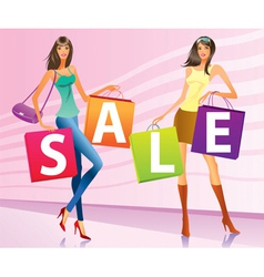 Shopping girls with sale campaign bags vector