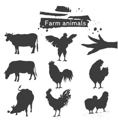 silhouette farm animal icon vector image