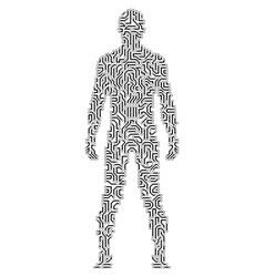 Silhouette of a man in circuit scheme style vector