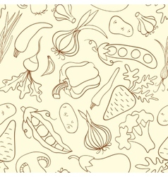 Simple doodle seamless pattern with vegetables vector image