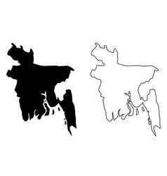 simple only sharp corners map bangladesh vector image