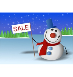 Snowman is marked Sale vector image