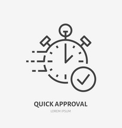 Stopwatch clock flat line icon fast money vector