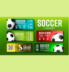 stylish tickets for visit soccer match set vector image