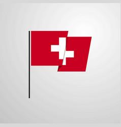 Switzerland waving flag design background vector