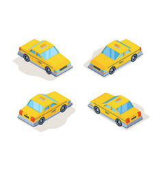 taxi cars yellow service vehicles passenger vector image