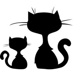 two cute cat cartoon silhouette sitting - i vector image