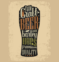Typography poster beer glass on brown old paper vector
