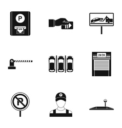 Valet parking icons set simple style vector