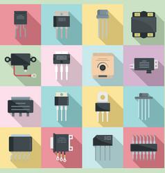 Voltage regulator icons set flat battery vector