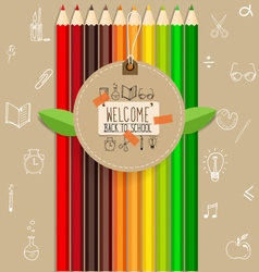 Welcome back to school with paper note and color vector