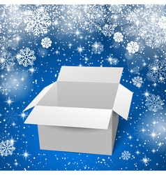 White box with shadows and reflectoins Blue snow vector