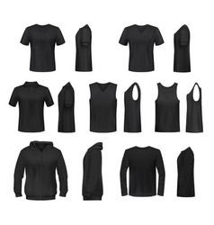 Women black shirt polo sweatshirt and tank top vector