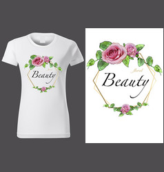 women white t-shirt with floral pattern vector image