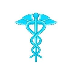 Caduceus medical symbol icon cartoon style vector image