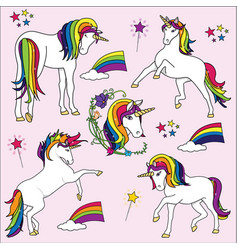 bright rainbow unicorn vector image vector image