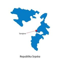 Detailed map of Republika Srpska and capital city vector image vector image