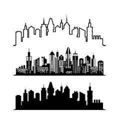Set of skyscraper sketches City architect design vector image vector image
