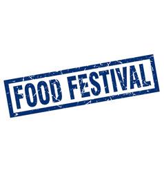 square grunge blue food festival stamp vector image vector image