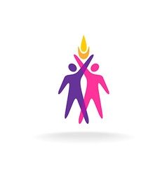Two people logo with hands up and fire symbol vector image vector image
