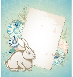Vintage Easter card with rabbit vector image vector image