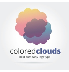 Abstract logotype with two clouds isolated on vector image vector image
