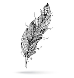 Artistically drawn stylized feather on a vector image vector image